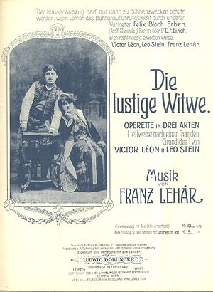 The Merry Widow - Louis Treumann and Mizzi Günther on the frontpage of a piano-vocal score, 1906
