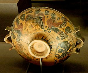Polos Painter - Sirens on a Lekane by the Polos Painter, c. 600–575 BC Louvre CA 3059