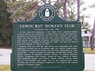 Lemon Bay Woman's Club - Image: Lemon Bay Woman's Club sign back