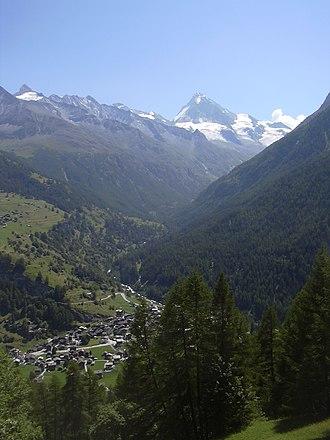 Les Haudères - View of Les Haudère (Dent Blanche in background)
