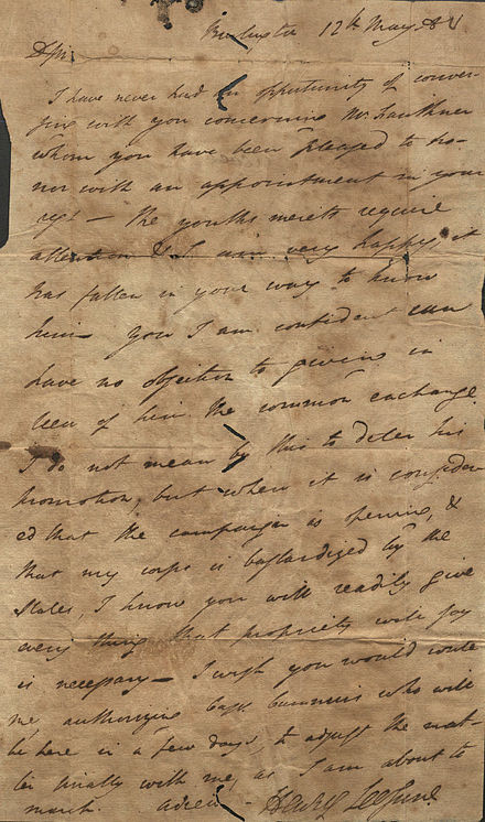 Letter from Henry Lee to Colonel Shreve, Burlington, May 12, 1780 Letter of Henry Lee to Shreve 1780.jpg