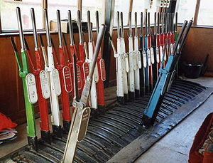 Signalling control - A mechanical lever frame inside the signal box at Knockcroghery in Ireland