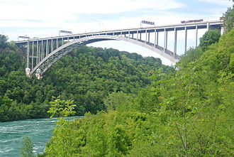 Lewiston–Queenston Bridge - The bridge as seen from Niagara Gorge.