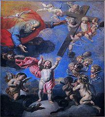 L'Enfant Jésus tendant les bras à la croix offerte par le Père