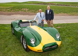 Archie Scott Brown - Archie was famous for racing the Lister Knobbly. Sir Stirling Moss also raced the car and is pictured here with the present owner of Lister Cars, Lawrence Whittaker.