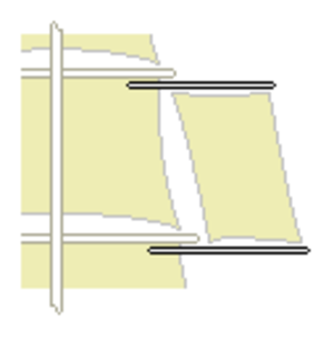 Studding sail - Diagram showing how a studding sail attaches to a yardarm