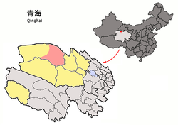 Location of Da Qaidam (red) in Haixi Prefecture (yellow) and Qinghai