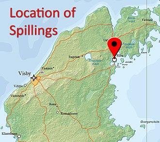 Spillings Hoard - Image: Location of Spillings, Gotland