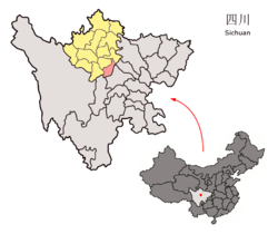 Wenchuan (red) in Ngawa Prefecture (yellow), Sichuan province, and the PRC