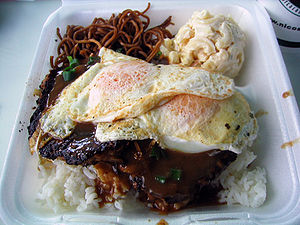 Loco moco - A loco moco plate lunch, with soba noodles (left) and macaroni salad (right)