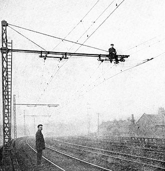 London, Brighton and South Coast Railway - Construction of overhead electrical lines, c. 1908
