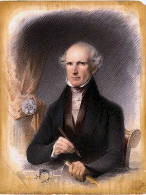 James B. Longacre - Self-portrait by Longacre (1845), watercolor on board