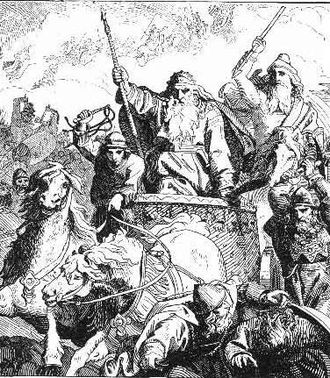 Harald Wartooth - Harald Wartooth at the Battle of Bråvalla. Illustration by the Danish Lorenz Frølich in a 19th-century book.