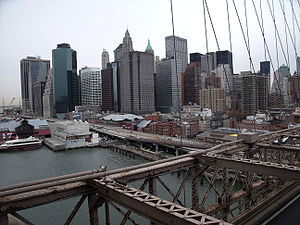 View of Lower Manhattan on Brooklyn Bridge