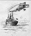 Luftblockade. Ein deutsches Marine-Luftschiff überprüft einen dänischen Dampfer, vermutlich in der Nordsee. Zeichnung von Willy Stöwer 1915.jpg