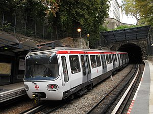 Lyon Metro Line C - A rack-railway train of line C at the station Croix-Paquet.