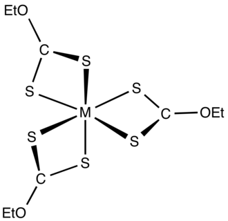 Xanthate - Image: M(S2COEt)3