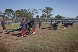 Canon de 75 M(montagne) modele 1919 Schneider - Ceremonial battery of the Brazilian Army composed by four Schneider canons during a gun salute