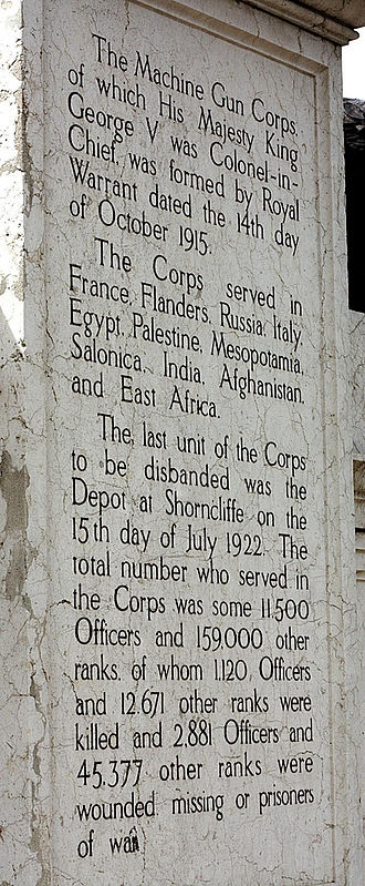 Machine Gun Corps Memorial - Image: MGC Boy David Memorial Rear Inscription
