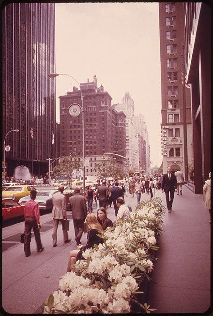 During this period, ABC moved its corporate headquarters to 1330 Avenue of the Americas. MINIATURE RHODODENDRONS BLOOM IN FRONT OF THE AMERICAN BROADCASTING BUILDING - NARA - 551665.jpg