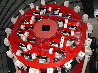 Microlensing Observations in Astrophysics - Image: MOA telescope underside of main mirror