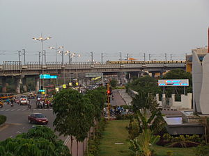 Chennai Mass Rapid Transit System - MRTS crossing in the IT Corridor