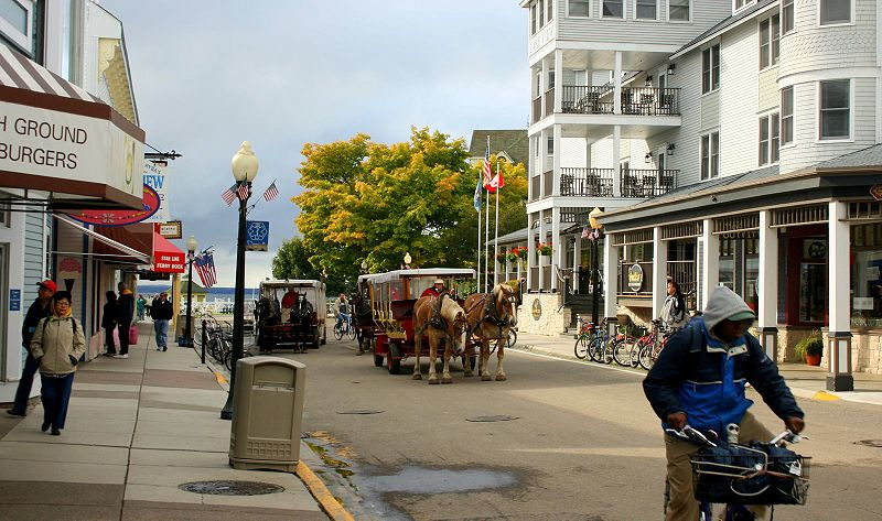 Two of the modes of transport on Mackinac Island, horse-drawn carriages and bicycles. Mackinac   Island