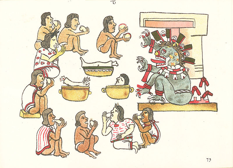 Cannibalism taking place in the Codex Machilabechiano Folio 73r.
