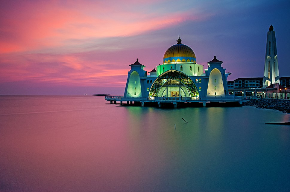 Malacca Straits Mosque during sunset
