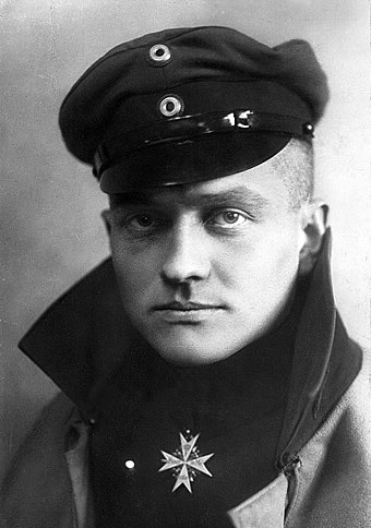 "Manfred von Richthofen, known as the ""Red Baron"", scored the most officially accepted kills in World War I and is arguably the most famous flying ace of all time. Manfred von Richthofen.jpg"