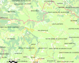 Mapa obce Valleraugue