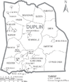 Map of Duplin County North Carolina With Municipal and Township Labels.PNG
