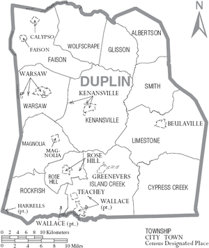 Duplin County, North Carolina - Map of Duplin County, North Carolina With Municipal and Township Labels