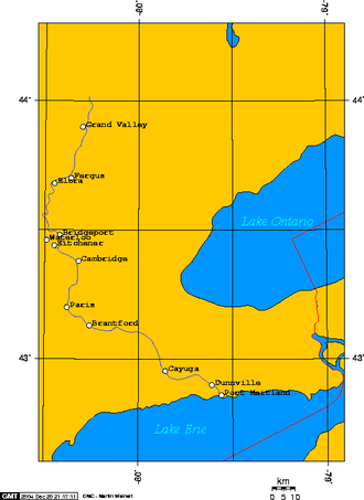 Grand River (Ontario) - A map of the Grand River's course