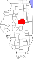 Map of Illinois highlighting McLean County