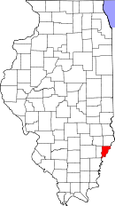 Map of Illinois highlighting Wabash County