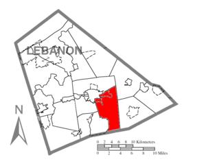 South Lebanon Township, Lebanon County, Pennsylvania - Image: Map of Lebanon County, Pennsylvania Highlighting South Lebanon Township