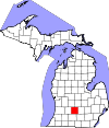 State map highlighting Eaton County