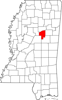 map of Mississippi highlighting Choctaw County