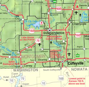 Elk City Lake - Image: Map of Montgomery Co, Ks, USA