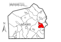 Map of Adams County, Pennsylvania highlighting Oxford Township