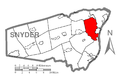 Map of Snyder County, Pennsylvania Highlighting Penn Township.PNG