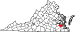 State map highlighting Surry County