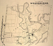A map of the Village of Woodbridge from 1878, prominently showing the Humber River. Also visible is the Toronto Grey and Bruce Railway.
