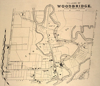 Woodbridge, Ontario - A map of the Village of Woodbridge from 1878, prominently showing the Humber River. Also visible is the Toronto Grey and Bruce Railway.