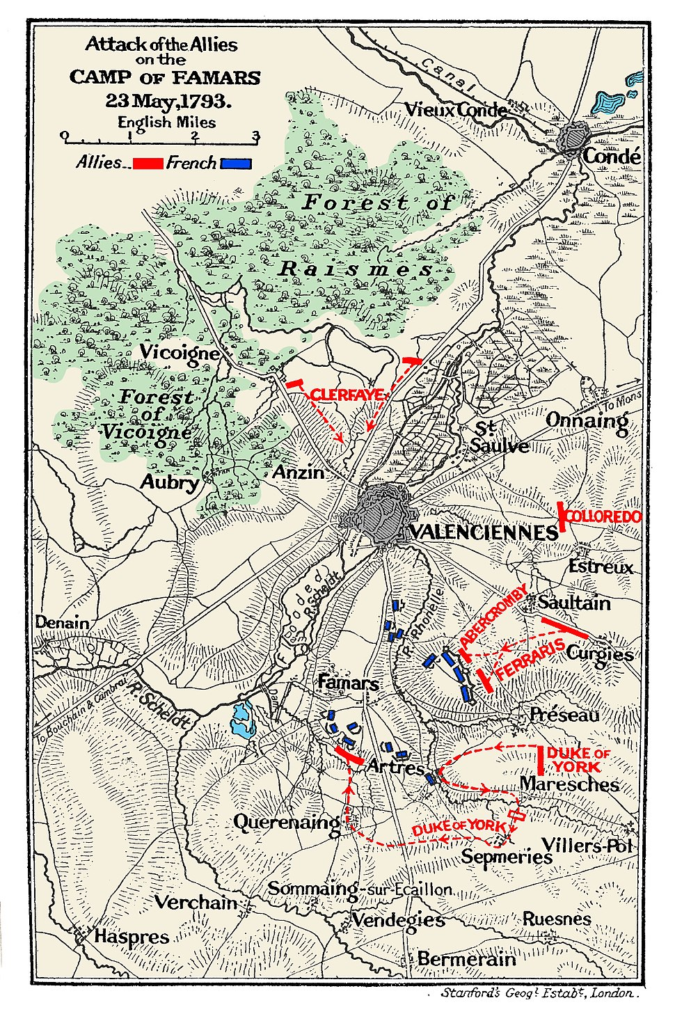 Map of the Battle of Famars