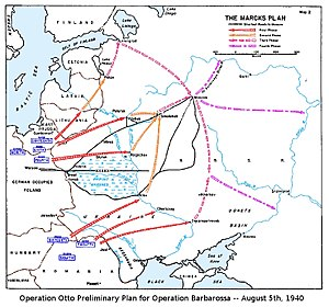 Operation Barbarossa - The Marcks Plan was the original German plan of attack for Operation Barbarossa, as depicted in an US Government study (March 1955).