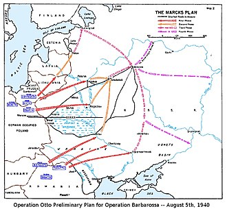 Operation Barbarossa - The Marcks Plan was the original German plan of attack for Operation Barbarossa, as depicted in a US Government study (March 1955).