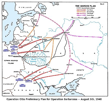 The Marcks Plan was the original German plan of attack for Operation Barbarossa, as depicted in a US Government study (March 1955). Marcks Plan for Operation Barbarossa.jpg