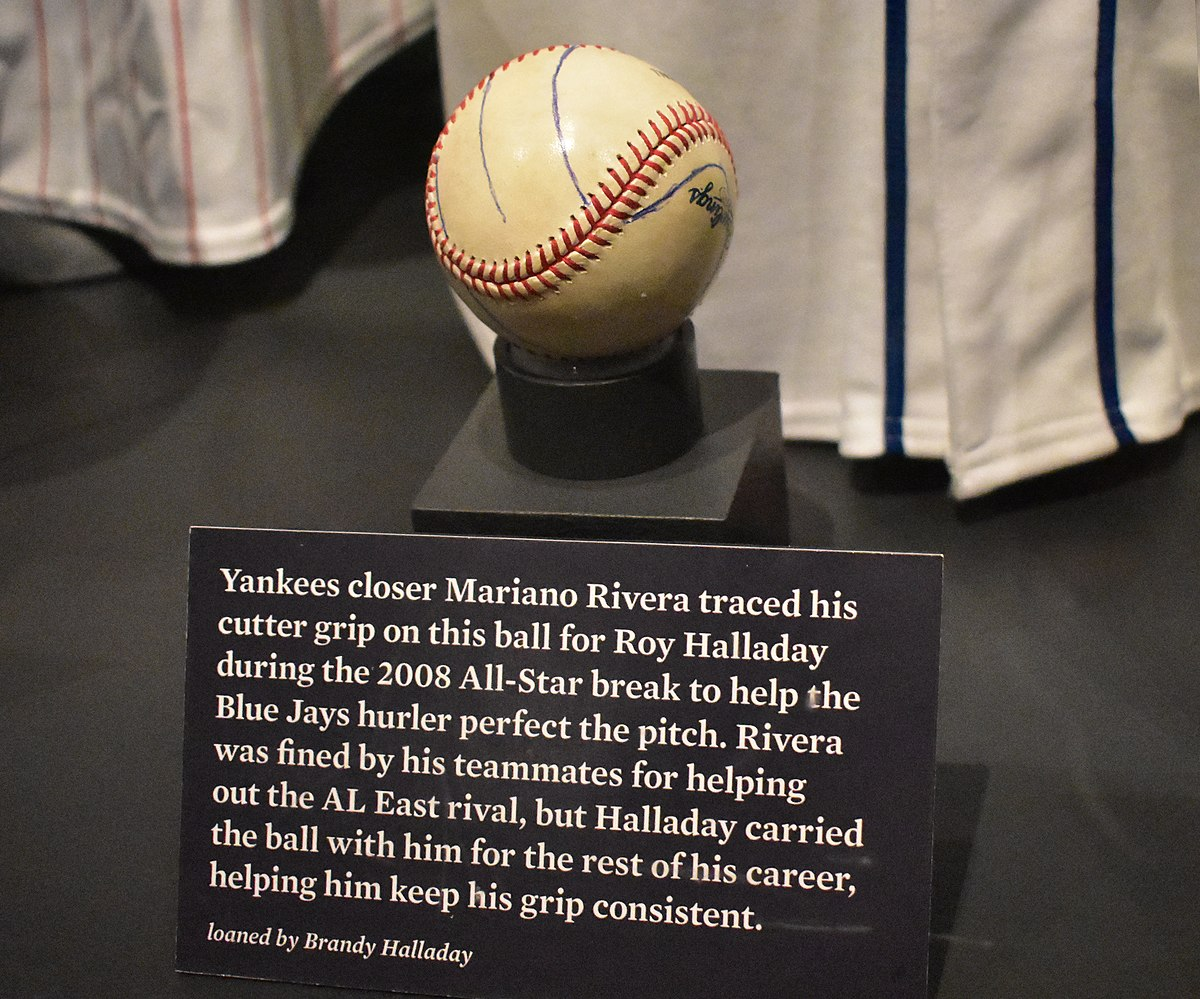 Mariano Rivera's cutter grip traced onto ball for Roy Halladay at Baseball Hall of Fame.jpg